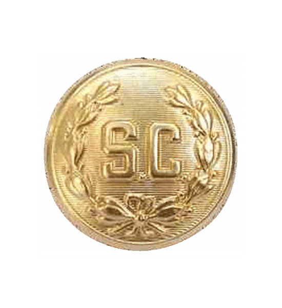 "1 inch ""SC"" Bright Brass Button Sew on / Removable"