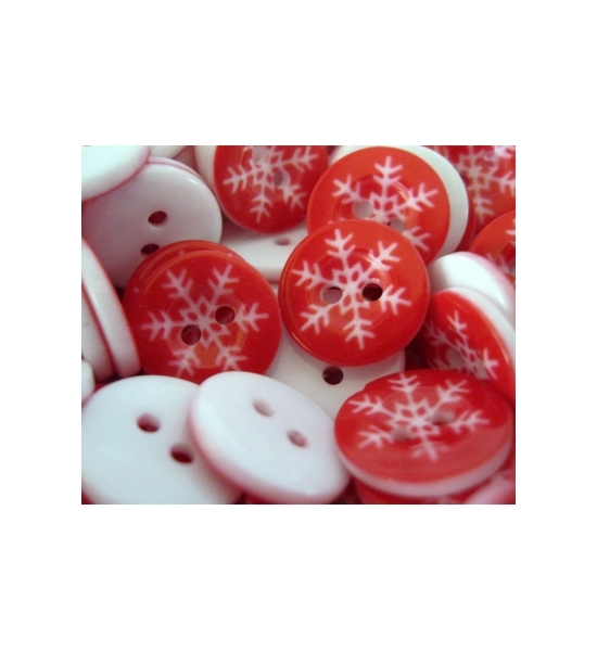"PACK OF 20- 5/8"" RED AND WHITE RESIN SNOWFLAKE BUTTONS"