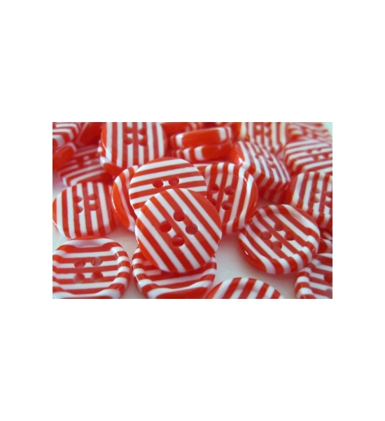 "PACK OF 25 -1/2"" RED AND WHITE RESIN 4 HOLE BUTTONS FOR SANTA'S SHIRT."