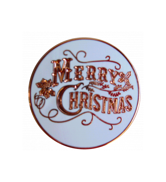 "WHITE WITH COPPER LETTERING ""MERRY CHRISTMAS"" 1 INCH LAPEL PIN"