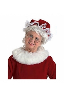 Halco 7951 Mrs. Claus Velvet Mop Hat Red