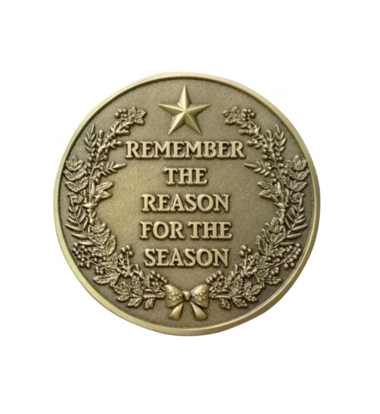 "NEW FOR 2018 ""REMEMBER THE REASON"" ANTIQUE GOLD 1 1/2"" CHALLENGE COIN"
