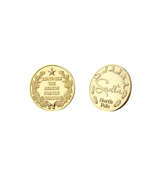 """REMEMBER THE REASON FOR THE SEASON"" 1 1/2"" GOLD CHALLENGE COINS"