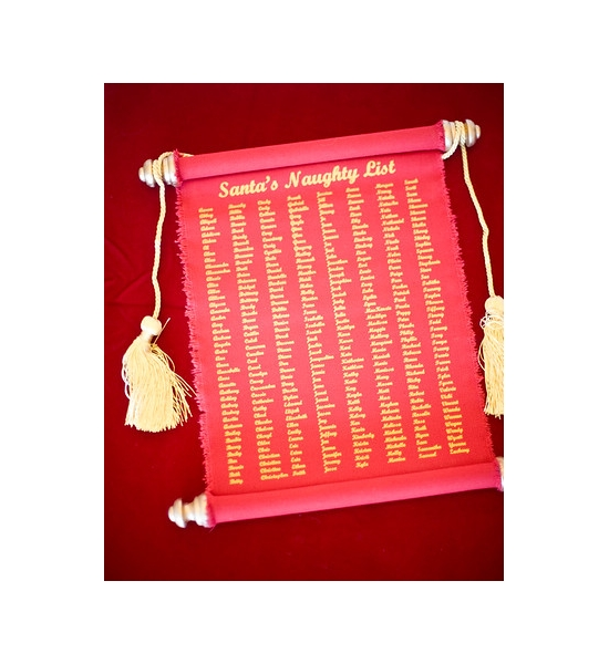 8 1/2 x 11 SANTA'S NAUGHTY OR NICE LIST RED CANVAS