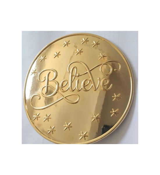 "SET OF 5 LARGE 1 3/8"" GOLD PLATED ""BELIEVE"" SEW ON BUTTONS"