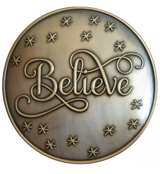 "1 3/4"" ANTIQUE GOLD  ""BELIEVE"" BROOCH"