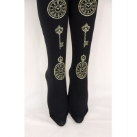 Pocketwatch Printed Tights Gold on Black Steampunk Lolita Fashion