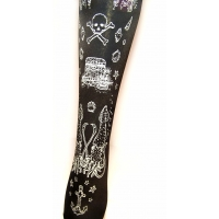 Narwhal Tights Silver on Black Nautical Pirate Print