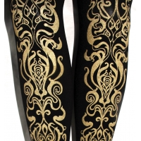 Art Nouveau Printed Tights Gold on Black in S M Tall L and XL Sizes