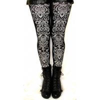 Art Nouveau Printed Tights Silver on Black Street Style Fashion