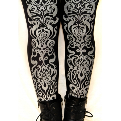 Art Nouveau Printed Tights Silver on Black Street Style Fa..