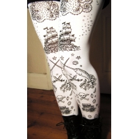 Nautical Tattoo Tights Black on White Narwhal Print Nautical