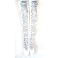 Art Nouveau Silver Tights, Printed on White. S M Tall L XL women's