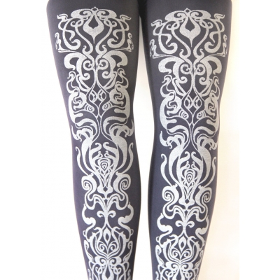 Grey Art Nouveau Tights..