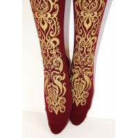 Printed Tights Gold on Burgundy Art Nouveau Pattern S XL sizes