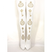 Clock and Key Print Tights Gold on White Sizes S M Tall L Plus Size