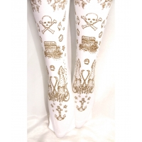 Narwhal Printed Tights Gold on White Pirate Tattoo Print Sailor Lolita