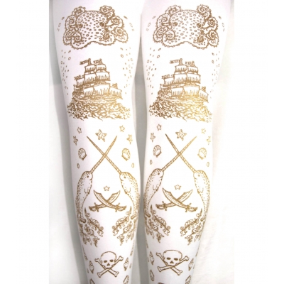 Narwhal Printed Tights Gold on White Pirate Tattoo Print S..