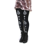 Pocketwatch Printed Tights White on Black Gothic Lolita Clock Key