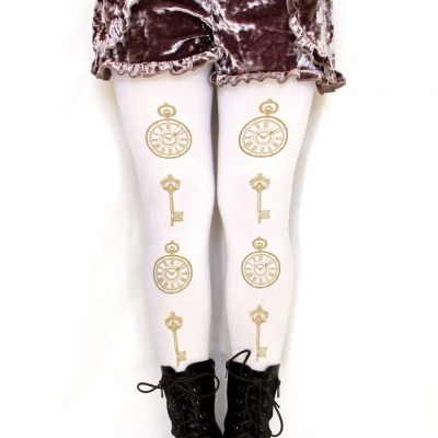 Clock and Key Print Tights Gold on White Sizes S M Tall L ..