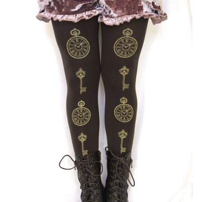 Steampunk Tights Pocket Watch and Key Print Gold on Brown Lolita