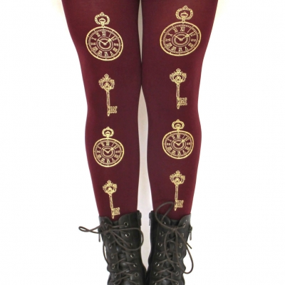 Pocket Watch and Antique Key Printed Tights Gold on Burgundy Red
