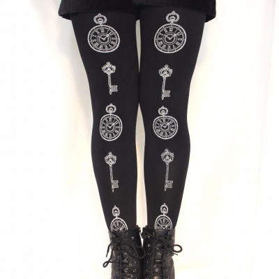 Pocket-Watch Printed Tights Silver on Black Alice in Wonde..