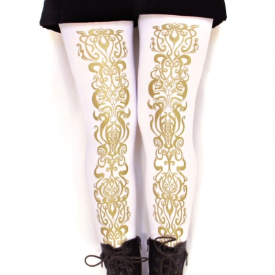 Art Nouveau Gold Tights, White, Pattern. S M Tall L XL sizes