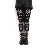 Printed Tights, Memento Mori, Silver on Black. Witchy Clothing