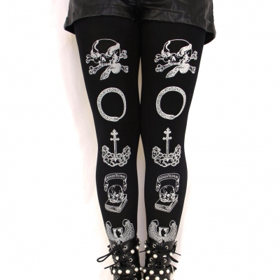 Silver Printed Tights, Memento Mori, Black. Witchy Clothing