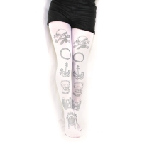 Printed Tights Memento Mori Silver White Baroque Classic Lolita Womens