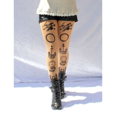 Tattoo Tights, Memento Mori Print. Nude/Tan, Control/Firmi..