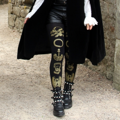 Memento Mori Tights Gold Black Printed Vanitas Women's Got..