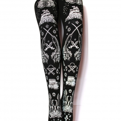 Narwhal Pirate Tights, White on Black. Nautical Lolita Clothing