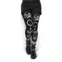 Nu Goth Clothing, Memento Mori Tights Printed White Black Gothic