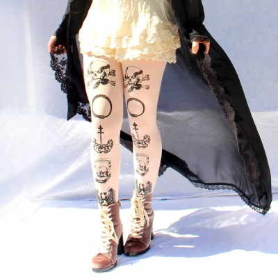 Pastel Goth Tights, Printed Memento Mori Design. Black on ..
