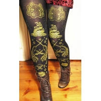 Pirate Tights Gold on Black Nautical Tattoo Narwhal Octopus Print