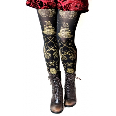 Pirate Tights Gold on Black Nautical Tattoo Narwhal Octopu..