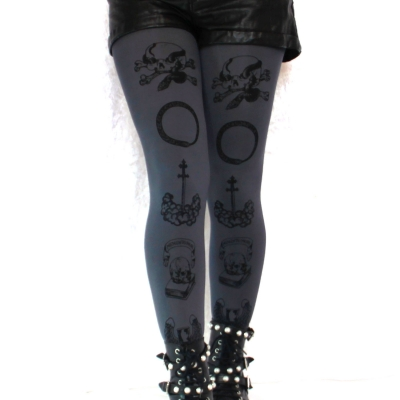 Snakes and Skulls Printed Tights, Memento Mori Black Grey ..