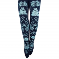 Sailor Lolita Print Tights, Narwhal Pirates, Pastel Baby Blue Navy