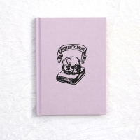 Memento Mori Embossed Notebook Pink Lilac Pastel Blue Goth