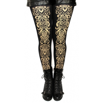 Art Nouveau Printed Tights Gold on Black in S M Tall L and..