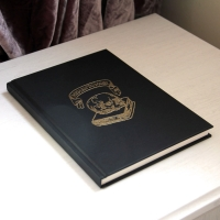 Memento Mori Sketchbook A5, Gold Embossing on Black. Gothic Stationary, Gift for Artists