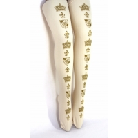 Custom Order for Aliceinthesouthlands - M/Tall 70d - Crown tights - Gold on Cream + Gold on Burgundy