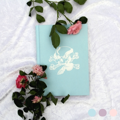 Skull & Snake Notebook, Embossed A5 Hardback, Pastel Colours