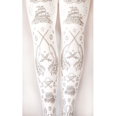 Pirate Print Tights Silver on White, Pirate Narwhal, Sailo..
