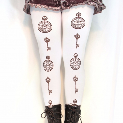 Pocket Watches & Key Print Tights, Brown on White, All Siz..