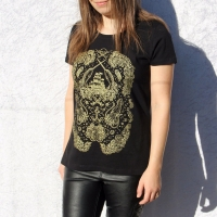 Pirate Narwhals T Shirt, Gold on Black, Womens, Nautical, Lolita