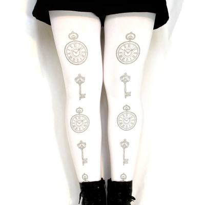 Lolita Tights, Silver Clock & Key Print on White, Small to..
