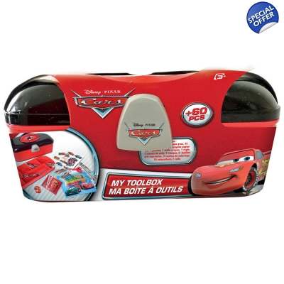 DISNEY Cars Toolbox with 60 Piece Creative Stationery Set - 3+ Years
